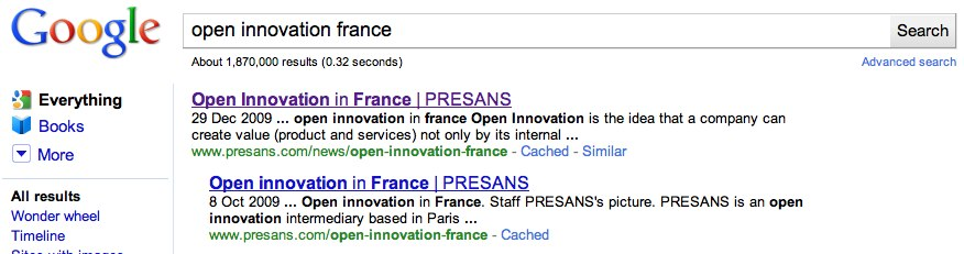 Google Search on Open Innovation in France