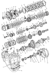 The diagram shows an exploded view of a portion of an automobile transmission.)